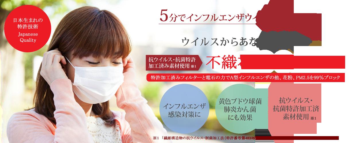 5分でインフルエンザウイルスを不活性化。ウイルスからあなたを守る特許技術 抗菌マスク。インフルエンザ予防・黄色ブドウ球菌、肺炎かん菌にも効果・ECO-EVER抗ウイルス特許取得