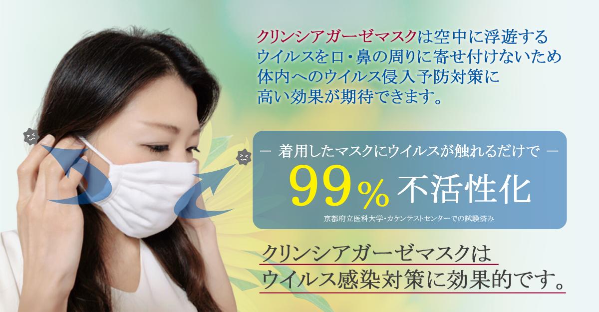 クリンシアガーゼマスクは空中に浮遊するウイルスを口・鼻の周りに寄せ付けないため、体内へのウイルス侵入を限りなく防ぐことが出来るのです!着用したマスクにウイルスが触れるだけで99%不活性化(京都府立大学でのウイルス試験実証済み)クリンシアガーゼマスクはウイルスを寄せ付けません。
